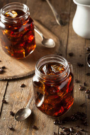 brew: Homemade Cold Brew Coffee to Drink for Breakfast Stock Photo