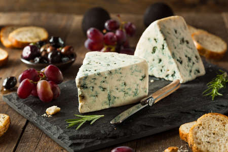 Organic Blue Cheese Wedge with Olives and Grapes