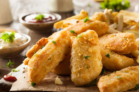 Crispy Fish and Chips with Tartar Sauce Stock Photo
