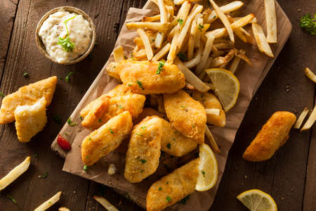 cod: Crispy Fish and Chips with Tartar Sauce Stock Photo