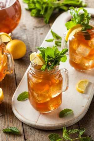 iced tea: Homemade Iced Tea and Lemonade with Mint Stock Photo