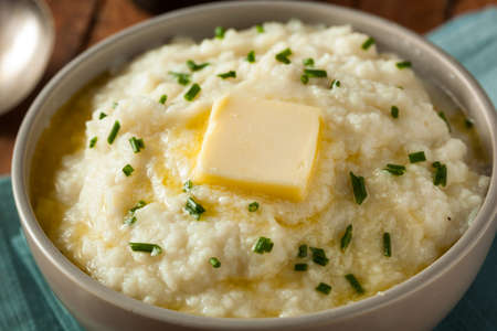 Homemade Organic Mashed Cauliflower with Butter and Chives