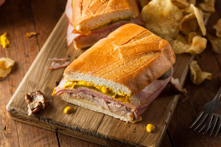 Homemade Traditional Cuban Sandwiches with Ham Pork and Cheese Banco de Imagens