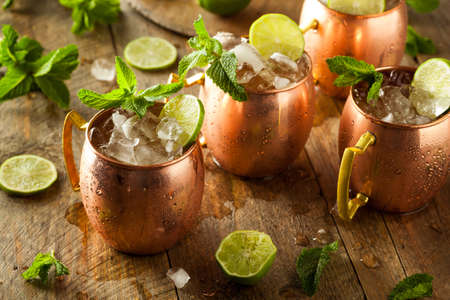 cocktail: Icy Cold Moscow Mules with Ginger Beer and Vodka