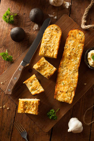 grilled food: Homemade Cheesy Garlic Bread with Herbs and Spices