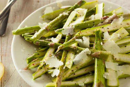 Raw Fresh Asparagus Salad with Cheese and Dressing