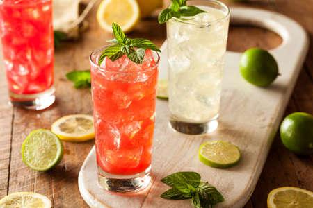 drinking soda: Organic Fresh Italian Soda with Green Mint