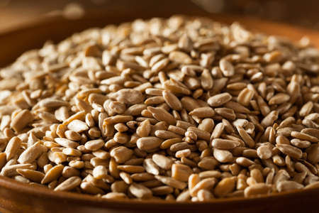 sunflower seeds: Raw Organic Hulled Sunflower Seeds in a Bowl