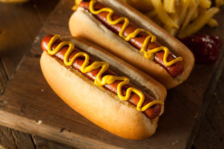 hotdog: Barbecue Grilled Hot Dogs with Yellow Mustard