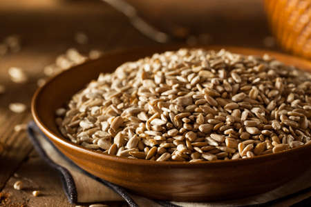 hulled: Raw Organic Hulled Sunflower Seeds in a Bowl