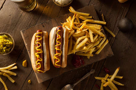 hot dog: Barbecue Grilled Hot Dogs with Yellow Mustard