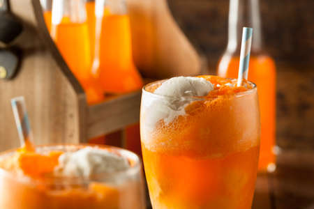 Orange Soda Creamsicle Ice Cream Float with a Straw