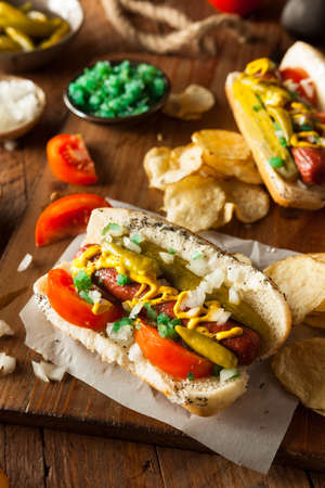 hot dog: Homemade Chicago Style Hot Dog with Mustard Relish Tomato and Onion
