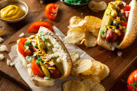 マスタード風味のトマトと玉ねぎと自家製のシカゴ スタイルのホットドッグ 写真素材