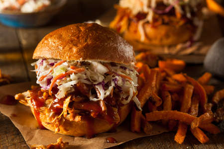 roast pork: Homemade Pulled Chicken Sandwich with Coleslaw and Fries