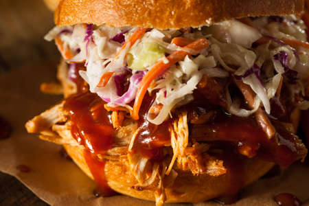 pulled: Homemade Pulled Chicken Sandwich with Coleslaw and Fries