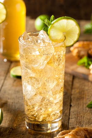 fresh ginger: Refreshing Golden Ginger Beer with Lime and Mint