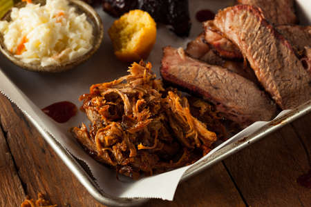 pork: Homemade Barbecue Pulled Pork on a Platter Stock Photo