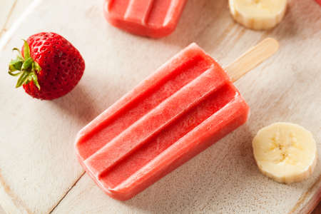 Homemade Strawberry and Banana Popsicles on a Stick
