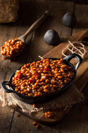 baked beans: Homemade Barbecue Baked Beans in a Black Skillet