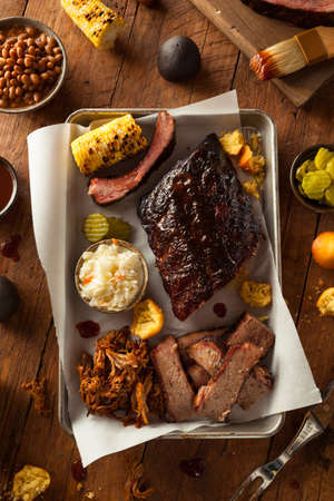 pork chop: Barbecue Smoked Brisket and Ribs Platter with Pulled Pork and Sides