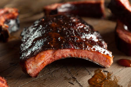 beef meat: Homemade Smoked Barbecue Pork Ribs Ready to Eat