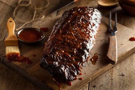 Homemade Côtes de porc barbecue fumé Prêt à Manger Banque d'images