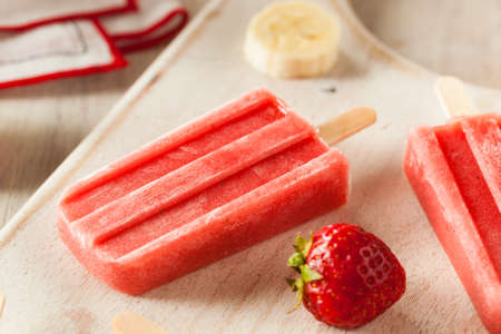 popsicle: Homemade Strawberry and Banana Popsicles on a Stick