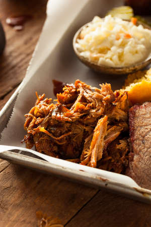 Homemade Barbecue Pulled Pork on a Platter Stock Photo