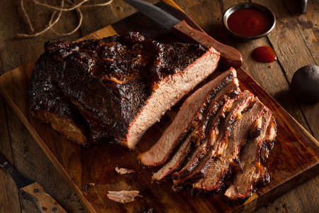 Homemade Smoked Barbecue Beef Brisket with Sauce Stok Fotoğraf