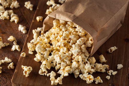 bowl of popcorn: Homemade Kettle Corn Popcorn in a Bag
