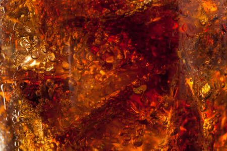 bubbly: Refreshing Bubbly Soda Pop with Ice Cubes Stock Photo