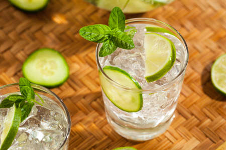 Refreshing Ice Water with Lime Cucumber and Mint