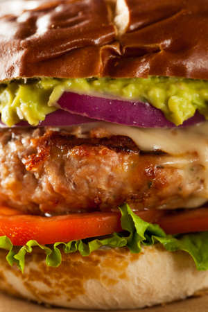 Homemade Healthy Turkey Burgers with Lettuce and Tomato Stok Fotoğraf