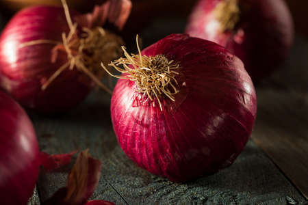 Raw Organic Red Onions on a Background