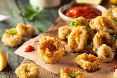 breaded: Homemade Breaded Fried Calamari with Marinara Sauce