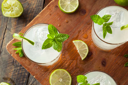 garnish: Cold Refreshing Iced Limeade with a MInt Garnish Stock Photo
