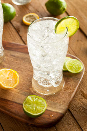 Refreshing Lemon and Lime Soda in a Glass Stock fotó