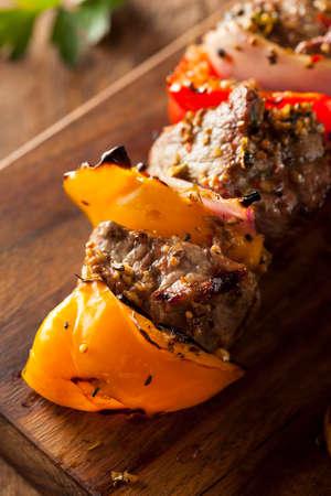 barbequing: Homemade Grilled Steak and Veggie Shish Kebabs on a Skewer