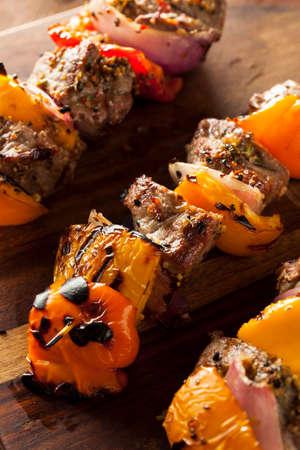 shishkabab: Homemade Grilled Steak and Veggie Shish Kebabs on a Skewer