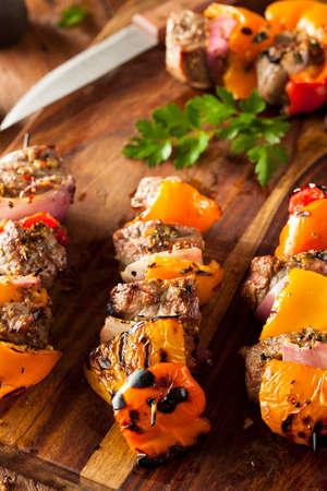 kabab: Homemade Grilled Steak and Veggie Shish Kebabs on a Skewer