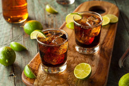 cocktail drinks: Rum and Cola Cuba Libre with Lime and Ice