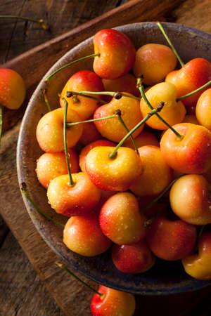 pulpy: Healthy Organic Rainier Cherries in a Bowl