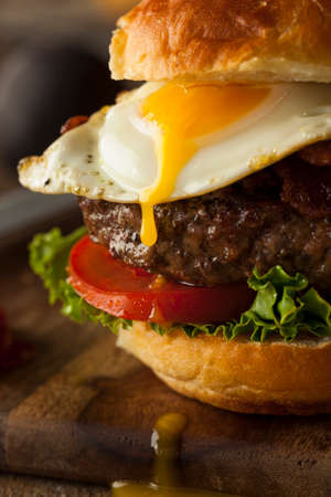 egg white: Homemmade Bacon Hamburger with Egg Lettuce and Tomato