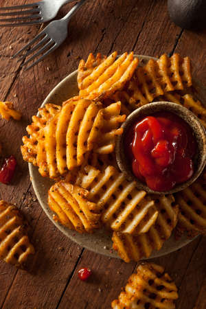 catsup: Crispy Homemade Waffles Fries with Organic Ketchup