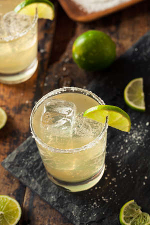 margarita glass: Homemade Classic Margarita Drink with Lime and Salt