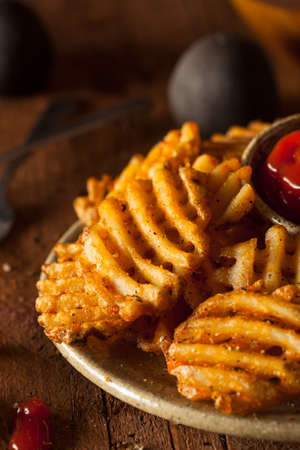 Crispy Homemade Waffles Fries with Organic Ketchup