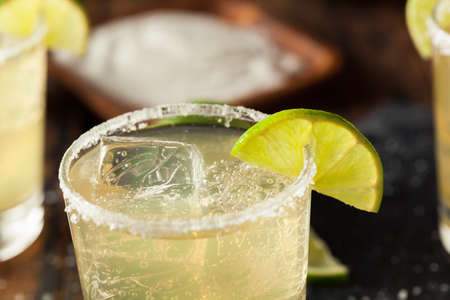 margaritas: Homemade Classic Margarita Drink with Lime and Salt