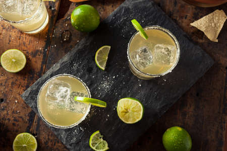 chips and salsa: Homemade Classic Margarita Drink with Lime and Salt