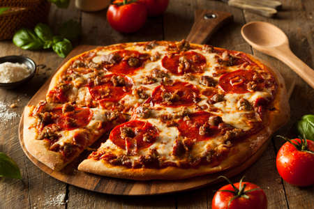 Homemade Meat Loves Pizza with Pepperoni Sausage and Bacon Stok Fotoğraf - 43095392